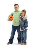 Brothers with football Stock Photography