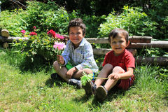 Brothers in the garden Stock Photo