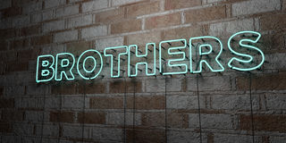 BROTHERS - Glowing Neon Sign on stonework wall - 3D rendered royalty free stock illustration Royalty Free Stock Image