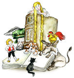 Brothers Grimm books characters. Illustration Stock Images