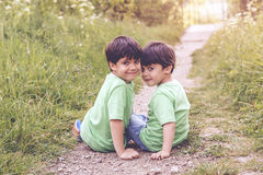 Brothers. Happy brothers in the field Royalty Free Stock Image