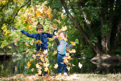 Brothers having fun with leaves in a park Stock Photo