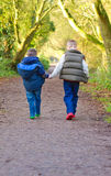 Brothers holding hands on a countryside path Stock Photography