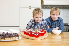 Brothers in a kitchen royalty free stock image