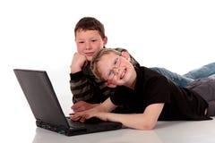 Brothers laptop Stock Photo