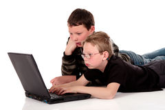 Brothers laptop Royalty Free Stock Photos