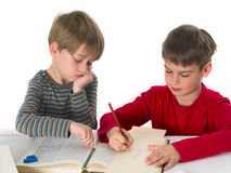 Brothers learning together Royalty Free Stock Images