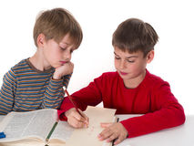 Brothers learning together Stock Image