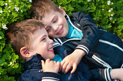 Brothers lying on the meadow. Four year old twin boys  lie on the blooming grass Stock Photos