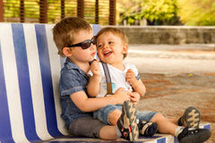 Free Brothers On Bench Royalty Free Stock Images - 65242869