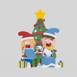 Brothers opening gifts in front of Xmas tree.3D. NnCustom 3d illustration, contact me Stock Images