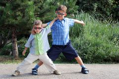 Brothers playing Royalty Free Stock Photography