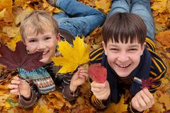 Brothers playing in Autumn Royalty Free Stock Image
