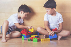 Brothers. Playing with colored blocks Royalty Free Stock Photography