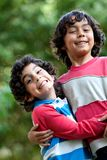 Brothers playing outdoors Royalty Free Stock Photos