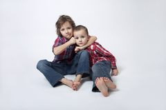 Brothers portrait - complicated relationship. Complicated brothers relationship - brothers portrait stock photos