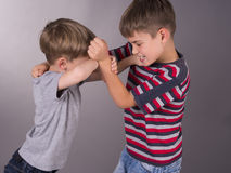 Brothers in a quarrel during learning Stock Photo