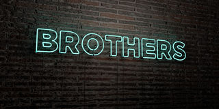 BROTHERS -Realistic Neon Sign on Brick Wall background - 3D rendered royalty free stock image Stock Images