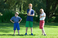 Brothers. Redheaded brothers pose outside with attitude stock photo