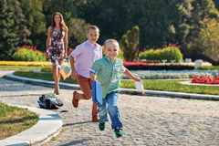 Brothers run fun Royalty Free Stock Images