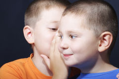 Brothers sharing secrets. Two brothers isharing secrets closeup photo selective focus Stock Photo