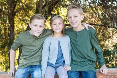 Two Brothers and their little sister. Brothers and sister playing outside sitting on a wood fence at the park Stock Images
