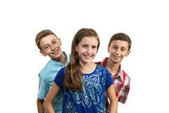 Brothers and Sister Triplets stock photos