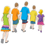 Brothers And Sisters. An image of brothers and sisters walking together Royalty Free Stock Photos