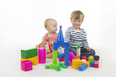 Brothers and sisters play Stock Image