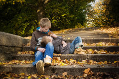 Brothers talking. Royalty Free Stock Images