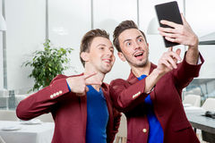 Brothers twins taking selfie photo Royalty Free Stock Photo