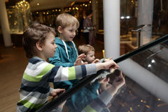 Brothers using touch screen Stock Photography