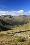 Brothers Water Dollywaggon Pike Nethermost Pike. View west from ridge above Hayeswater over Hartsop village and Brothers Water to (left to right) Dollywaggon Stock Photo