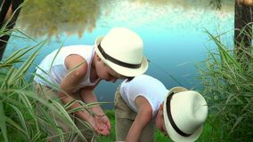 Brothers are whispered after fishing. happy children after fishing. Children watch a catch after fishing. Two small stock footage