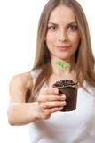 Broto da planta verde na mão fêmea Foto de Stock