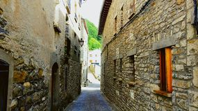 Broto Street. Broto, Small town of the Aragonese Pyrenees Royalty Free Stock Photo