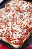 Brotpizza in der Schutzträgerwanne Stockfotografie