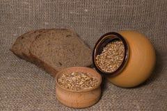 Brotscheibe und Weizenkorn Stockfoto