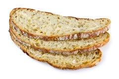 Brotscheiben auf weißem Hintergrund Stockbild