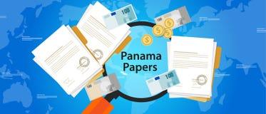 Brott för Panama legitimationshandlingar läckt dokumentpenningtvätt stock illustrationer