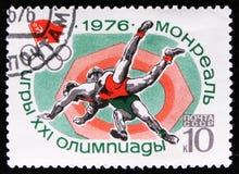 Brottningsport, olympiska spel i Montreal, Kanada, circa 1976 Royaltyfria Foton