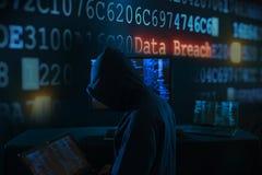 Brotts- begrepp för internet - en hacker Royaltyfri Bild