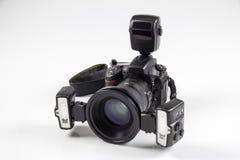 Brotts- kamera för platsutredningdslr Arkivfoto