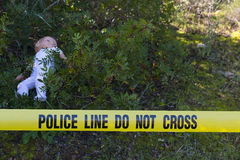 Brotts- plats i skogen med dockan Arkivfoton
