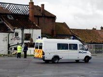 brotts- skadlig plats för brandhuspolis Royaltyfri Bild