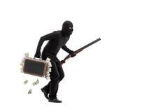 Brottsling med portföljen som är full av stal pengar Royaltyfri Foto