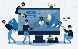 Brottslingar, inbrottstjuvar eller smällare som bär svarta hattar, maskerar och beklär att stjäla personlig information från dato royaltyfri illustrationer