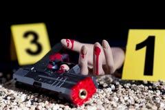 Brottsplats av en gunfight Royaltyfri Foto