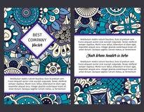 Brouchure с голубой флористической этнической картиной иллюстрация штока