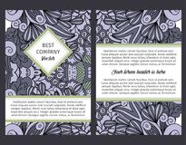 Brouchure design with grey outline swirls. Brouchure design template for company with outline swirls and leaves in grey and black colors, vector illustration Stock Photos